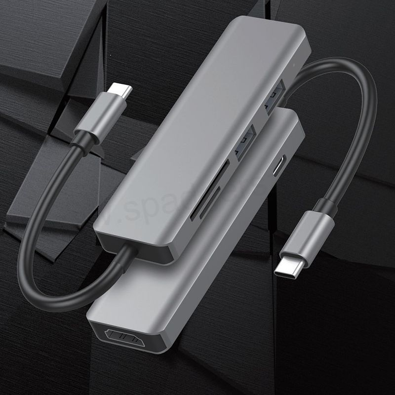 USB C Docking Station,6 in 1 Type-c Hub with PD,2 USB 3.0 Ports,4K to HDMI,SD/TF Card Readers